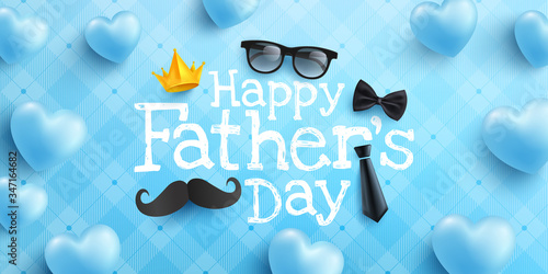 Murais de parede Happy Father's Day poster or banner template with necktie,glasses and heart on blue