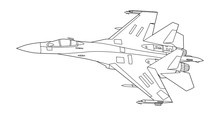 Vector Line Art Airplane, Concept Design. Military Plane Black Contour Outline Sketch Illustration Isolated On White Background. Stroke Without Fill. Cower Drawing. Black-white Icon. Vehicle. Graphic