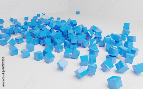 Abstract blue square shape scene 3d render wallpaper background