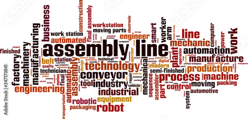 Assembly line word cloud Wallpaper Mural