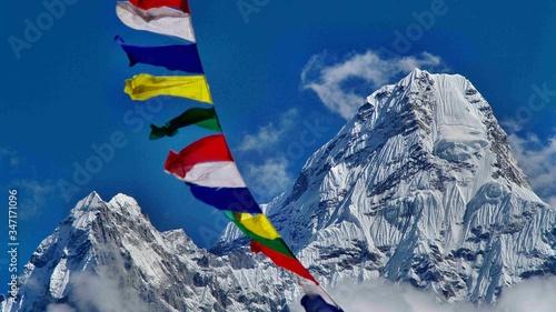 Prayer Flags At Ama Dablam Mountain Wallpaper Mural