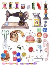 Watercolor Vintage Sewing Kit ...