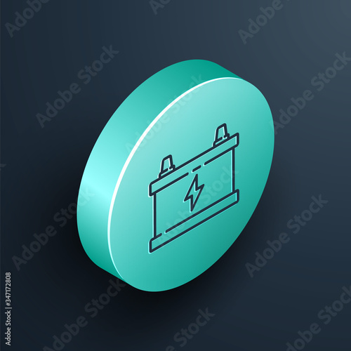 Isometric line Car battery icon isolated on black background Canvas Print