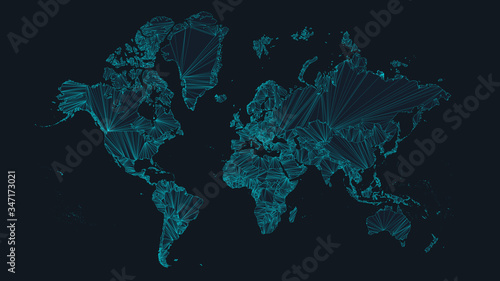 Cuadros en Lienzo World map with nodes of global business concept, vector illustration of network