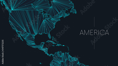 Polygonal map of the American continent with nodes linked by lines, vector global network concept poster, abstract illustration