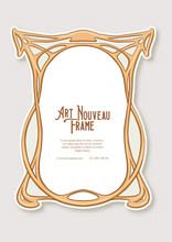 Label, Decorative Frame, Border. Tamplate Good For Product Label With Place For Text Colored Vector Illustration In Art Nouveau Style, Vintage, Old, Retro Style.