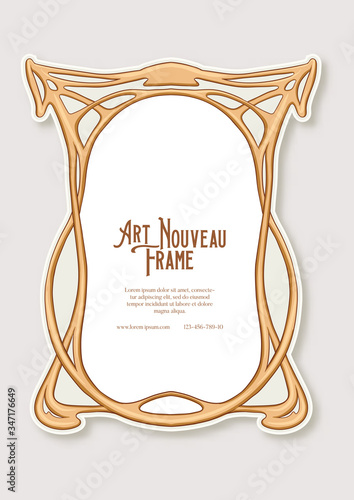 Label, decorative frame, border. Tamplate good for product label with place for text Colored vector illustration in art nouveau style, vintage, old, retro style. Wall mural