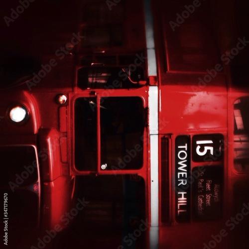 Obraz na płótnie Close-up Of Red Double Decker Bus