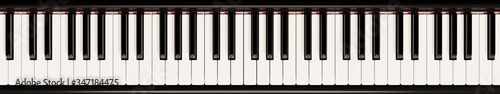 Photo Piano keyboard close up view 3D illustration