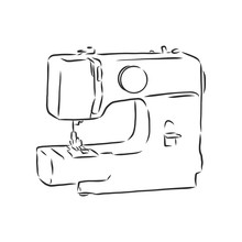 Vector Illustration Of A Sewing Machine In A Simple Hand Drawn Sketch Style. Modern Sewing Machine Vector Sketch Illustration