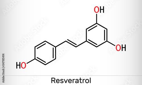 Resveratrol, trans-resveratrol molecule Wallpaper Mural