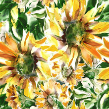 Sunflowers Seamless Pattern. Watercolor Illustration.