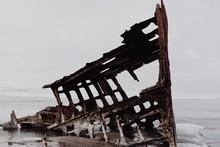Shipwreck At Sea Shore During ...