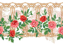 Vintage Roses In A Decorative Imitation Of A Wicker Basket Made Of Twigs Seamless Pattern, Background In Art Nouveau Style, Old, Retro Style. Colored Vector Illustration