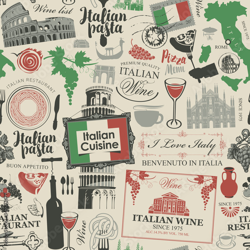 Tapeta do kuchni  vector-abstract-seamless-pattern-on-the-theme-of-italy-and-italian-cuisine-in-the-colors-of-the-italian-flag-in-retro-style-suitable-for-wallpaper-wrapping-paper-fabric