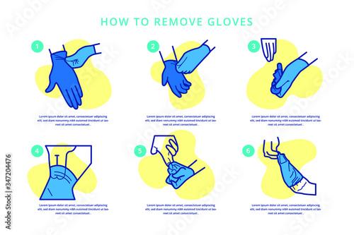 Obraz How to remove gloves safely to avoid spreading viruses - fototapety do salonu