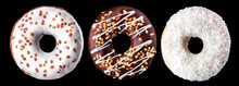 Set Of Glazed Donuts With Sprinkles On A Black Background