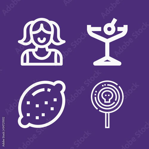 Photo Set of 4 adolescence lineal icons