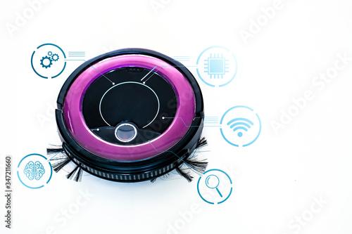 Photo robotic artificial intelligence usage eon mini hoover machine, tracking sensor p