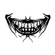 Scary Toothy Jaw Of A Evil Clown. Horror Mask Print