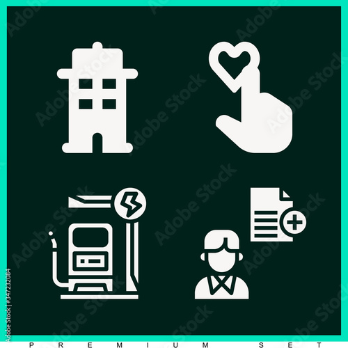 Set of 4 assigned filled icons Canvas Print