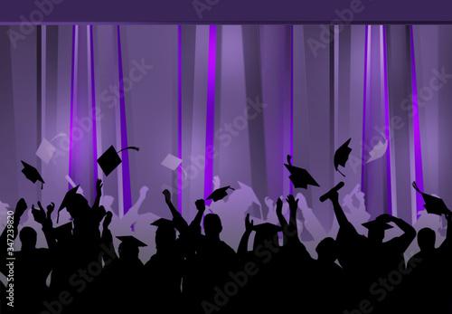 Fototapeta Graduation Celebration pary mauve university students background  obraz