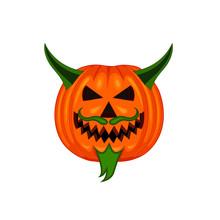 Vector Illustration Of A Halloween Pumpkin Devil Character