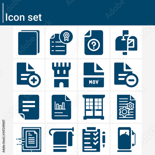 Simple set of archaic related filled icons. Canvas Print