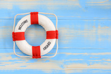 Top View Red Lifebuoy / Lifebelt On Wood Background