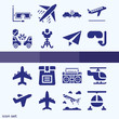 Simple set of 16 icons related to crash