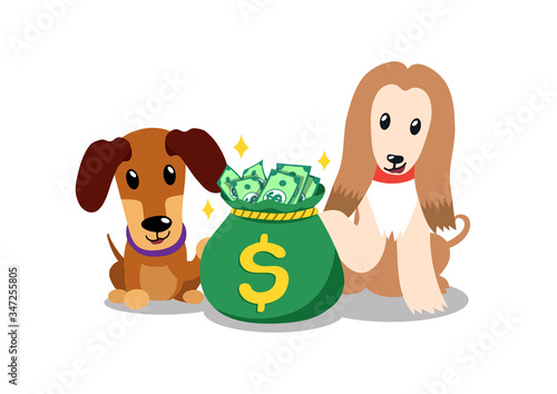 Vector cartoon character afghan hound and dachshund dog with money bag for design Canvas Print