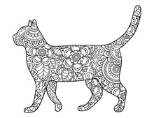 Cat Made A Floral Pattern With Oriental Ornaments. Hand Drawn Decorative Animal In Doodle Style. Stylized Decoration Of Mehndi For Tattoos, Stamps, Covers, Books And Coloring.