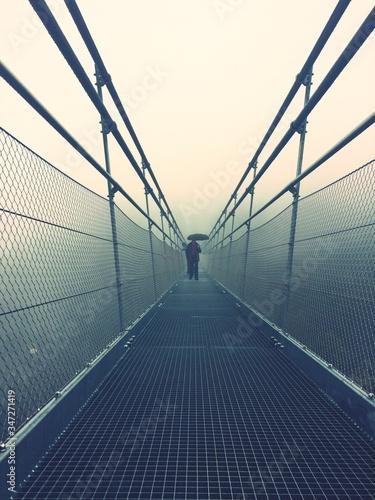 Man Standing On Footbridge Against Sky Fototapet