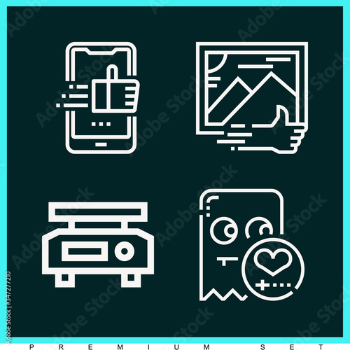 Set of 4 comparable lineal icons Canvas-taulu