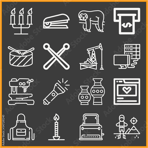 Photo Collection of 16 apparatus lineal icons