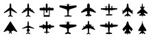 Set Plane Icons, Different Historical Airplane, Passenger Airplanes, Aircraft. Airliner Model Top View – Stock Vector