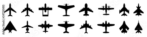 Fotografering Set plane icons, different historical airplane, passenger airplanes, aircraft