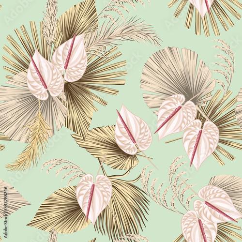 Tapety Boho   tropikalny-kwiatowy-boho-suszone-liscie-palmowe-kwiat-anturium-wzor-zielony-tlo-tapeta-egzotyczna-dzungla
