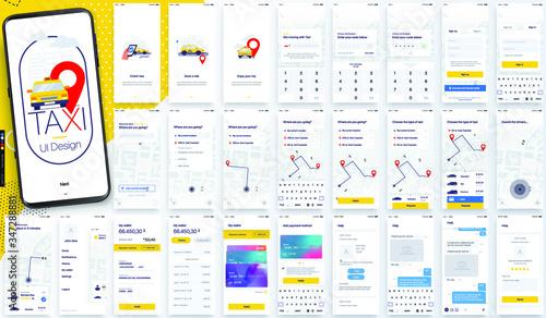 Ui kit de Interfacez para creacion de aplicacion de taxi android o ios Fototapeta