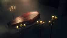 Closed Wood Coffin With Candle...