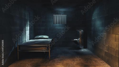 3D rendering of a dark cell at night Wallpaper Mural