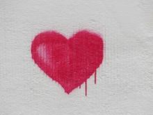 Red Heart Graffiti On Wall