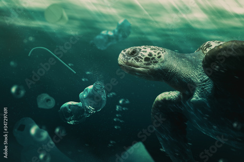 turtle swiming among trash in the ocean / photo composite Wallpaper Mural