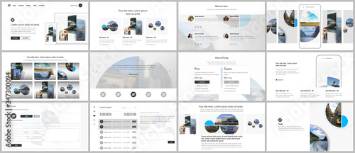Fototapeta Presentation design vector templates, multipurpose template for presentation slide, flyer, brochure cover design with abstract circle banners