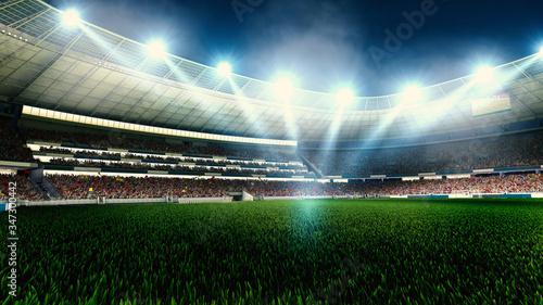 Photo Night football arena in lights close up. soccer stadium.