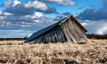 Collapsed Traditional Scandinavian Unpainted Wooden Shed In Field, Farmers Kept Machines And Tools For Agriculture, Storage During Seasonal Work, Historical Heritage, Scandinavian Culture, Heavy Sky