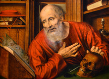 """Vienna, Austria. 2019/10/23. """"Saint Jerome In The Cell"""" (2nd Half Of The 16th Century) By (probably) Quentin Massys (Dutch: Quinten Matsijs). Kunsthistorisches Museum (Art History Museum) In Vienna."""