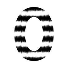NUMBER MADE OF JAGGED BLACK AND WHITE ZEBRA PRINT : 0 ZERO