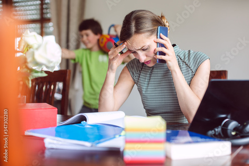 Stressed Businesswoman forced to work from home during lockdown Canvas Print