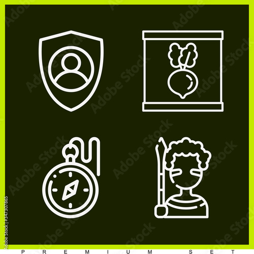 Set of 4 tis lineal icons Canvas Print